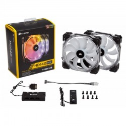 Комплект 2-x вентиляторов Corsair HD140 RGB LED High Performance Twin Pack Controller